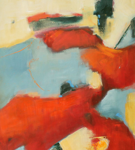 RED IN BLUES I ,oleo sobre lienzo 35 x 27 inches
