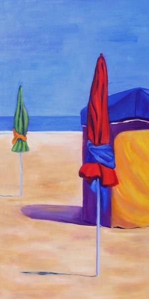 DOS SOMBRILLAS AL SOL Oleo sobre lienzo 110 x 55 cm
