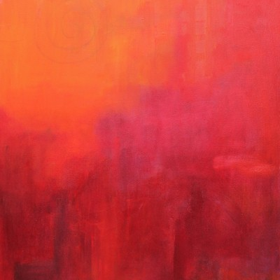 ESPIRAL EN ROJO, 90x70 cm, 35.4 x  27.5 in. Oleo sobre lienzo