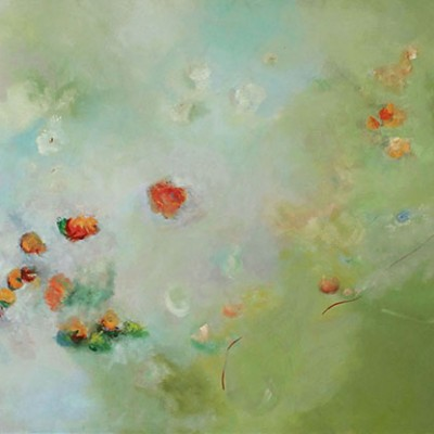 FLOWERS IN THE WIND ,(NY)  90 x 130 cm,35.4 x 51.2 in, oleo sobre lienzo SOLD