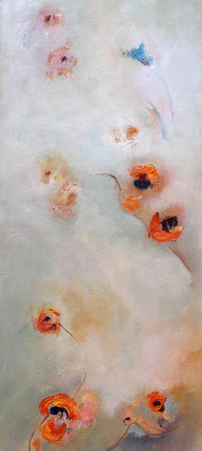 PENSAMIENTOS (NY), oleo sobre lienzo, 100x 40 cms, 39.4 x 15.7 pulg.