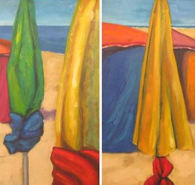 SOMBRILLAS,diptico, Oleo sobre lienzo.50x 100 cm, 19.7 x 39,4 in,