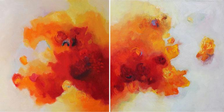 REFLEJOS FLORALES Diptico,oleo sobre lienzo,100x 200 cm,39 x 78 in