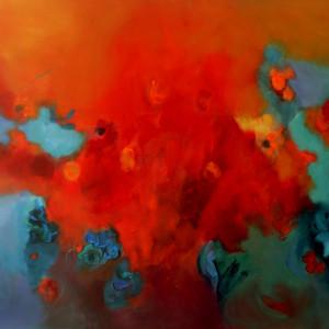 GARDEN II,Oleo en lienzo ,100x130 cm 39x51 In
