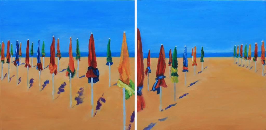 Deauville, Diptico,Oleo sobre lienzo ,25 x 50cm,9,5x19 inches