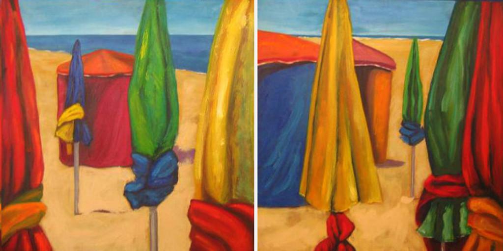 SOMBRILLAS, diptico,olo sobre lienzo,50x 100 cm, 19 x 39 inches