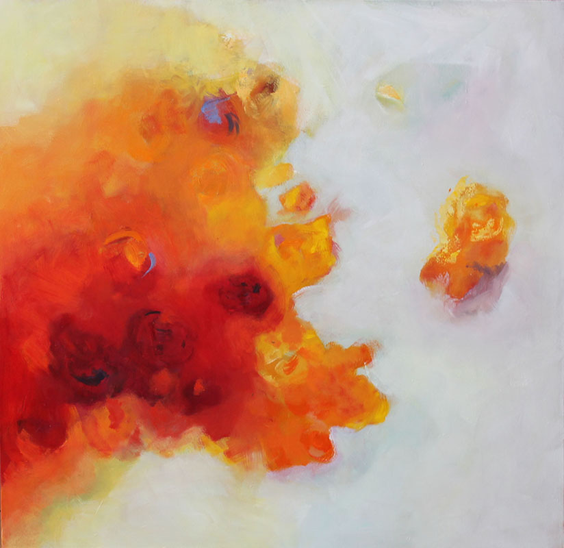 REFLEJOS FLORALES ll,Oleo sobre lienzo,100 x 100 cm,39 x 39 In